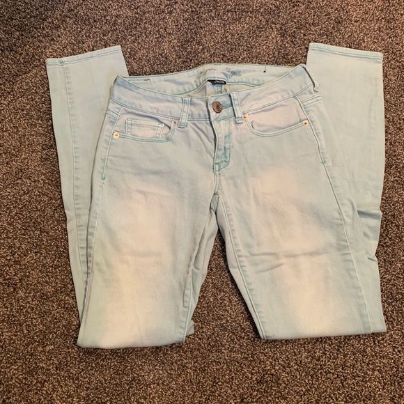 American Eagle Outfitters Denim - Very Light Blue Straight Leg Jeans
